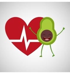Cartoon heartrate avocado fruit vector