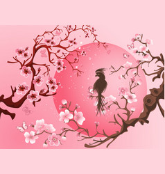 cherry blossom tree with bird vector image