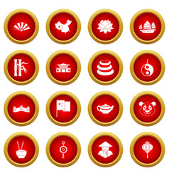 China travel symbols icon red circle set vector