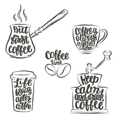 coffee lettering in cupgrinderpot grunge contour vector image vector image