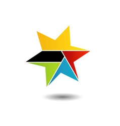 Colorful star logo with six sides vector image vector image