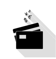 credit cards sign with currency symbols black vector image