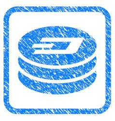 Dash coin column framed stamp vector