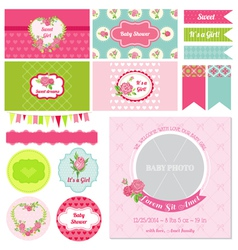 Design Elements - Baby Shower Flower Theme vector image vector image