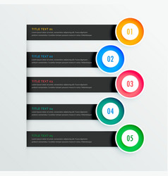 Elegant infographic banners with five steps vector