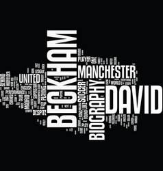 English superstar david beckham biography text vector