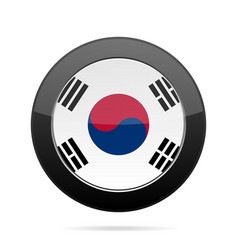 Flag of south korea shiny black round button vector