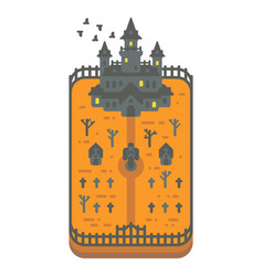 Flat design haunted mansion vector