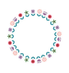 floral wreath decoration card vector image vector image