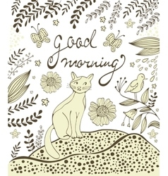 Good morning card with cute hand drawn cat sitting vector image vector image