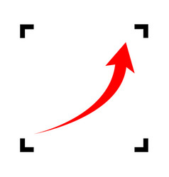 growing arrow sign red icon inside black vector image vector image