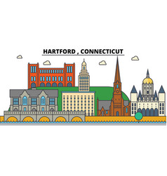 hartford connecticut city skyline architecture vector image vector image
