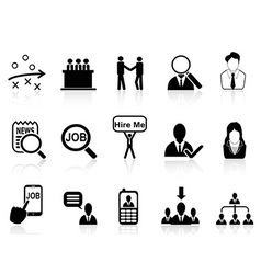 job search icons set vector image vector image