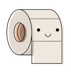 kawaii toilet paper roll in colorful watercolor vector image vector image