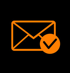 Mail sign with allow mark orange vector
