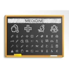 Medical hand drawing line icons chalk sketch sign vector