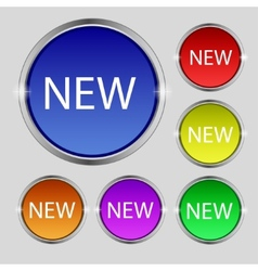 New sign icon arrival button symbol Set of colored vector image