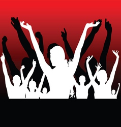 people black and white silhouette hand up vector image vector image
