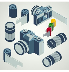 photo camera lens film element set vector image