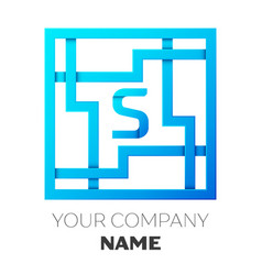 realistic letter s logo in colorful square maze vector image vector image