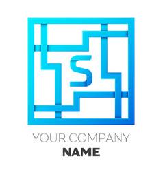 Realistic letter s logo in colorful square maze vector