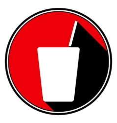 red round black shadow - drink with straw icon vector image