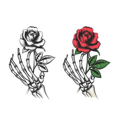 Rose flower in human skeleton hand vector