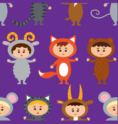 Seamless pattern with little kids in their animal vector