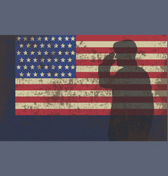 Serviceman on the background of the us flag vector