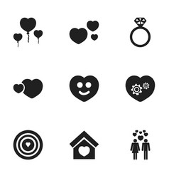 Set of 9 editable love icons includes symbols vector
