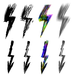 set of black and colorful lightning signs vector image vector image