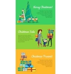Set of Christmas Flat Design Web Banners vector image vector image