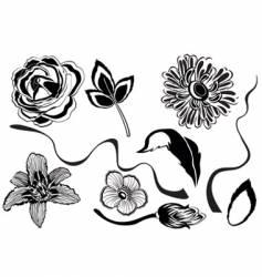 set of flower designs vector image