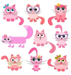 Set of pink and red cats vector