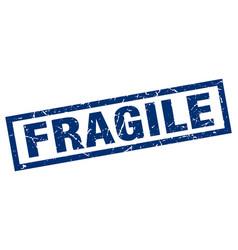 Square grunge blue fragile stamp vector