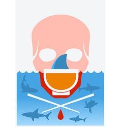 Stop shark finning soup color underwater poster vector