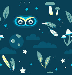 tiling pattern with night forest scene vector image vector image