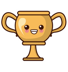 trophy cup championship kawaii cute cartoon vector image