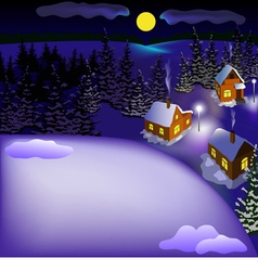 View of landscape of snowy town at the night vector image