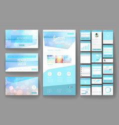 Website design template and interface elements vector