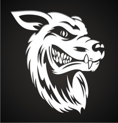 White wolf head vector