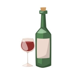 Wine bottle and glass of alcohol vector image