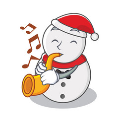 with trumpet snowman character cartoon style vector image