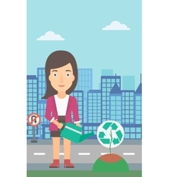Woman watering tree with recycle sign instead of vector image vector image