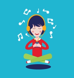 Happy girl with headphones listening to the music vector
