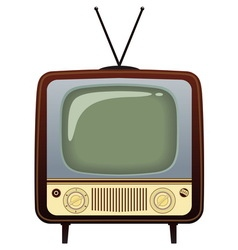 Realistic vintage tv on white background vector