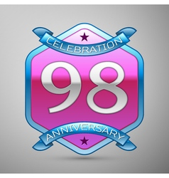 Ninety eight years anniversary celebration silver vector