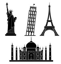 World landmarks statue of liberty eiffel tower vector