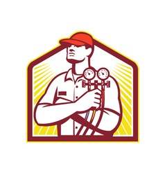 Heating and cooling refrigeration technician retro vector