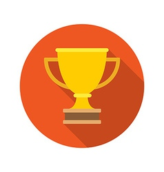 Flat golden trophy cup leadership concept icon vector